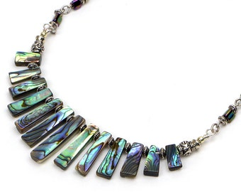 Abalone Shell Necklace, Paua Shell Jewelry, Beach Wedding Jewelry, Colorful Statement Necklace, Paua Shell Necklace, Tropical Gift for Her