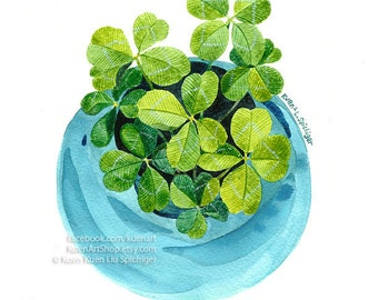 A Bunch of Luck Four-Leaf Clovers, Watercolor Painting Art Print, 4 Glover Leaves Green Clover Leaf Good Luck Wishes Thank you Get Well Soon