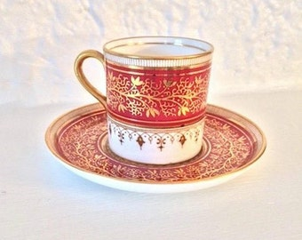 Aynsley demi-tasse and saucer, gold and red fine bone china, c 1960s