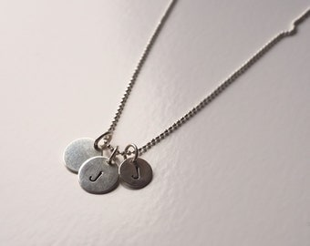 Individual 925 Silver necklace with pendant to your liking with stamped letters or blank circle disc plates plate