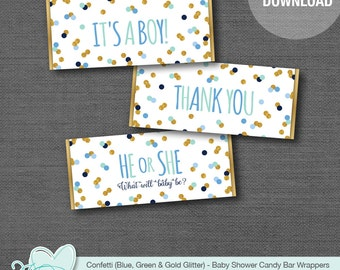 Confetti Candy Bar Wrapper Printable Blue Green and Gold Glitter, Chocolate Bar Wrapper, Hershey's Wrapper, Baby Shower, Boy, Thank You,23C