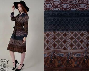 vintage 70s dress vintage 1970s bohemian ethnic printed dress with ties vintage boho hippie printed dress