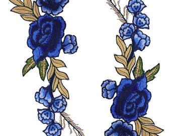 Blue Roses Floral Embroidery Applique Pair of Fabric Patches - More Colours