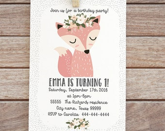 Printable Fox, birthday invitation, baby girl printable woodland invite digital rose floral design animal personalized invitation party 6-13