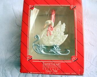 Swan Ornament, Hallmark Ornament, Sweetheart Ornament, sweetheart Swan Ornament