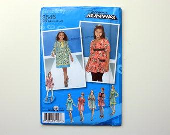 UNCUT Simplicity 3546 - Girls'  and Girls' Plus Dress or Mini Dress / Project Runway Pattern