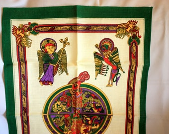 Book of Kells Tea Towel, Irish Linen tea Towel, Ireland Tea Towel, Fingal Tea Towel