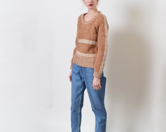 1970s Tawny Wool Cable Knit Sweater XS S