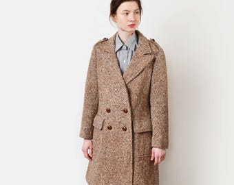 1970s Anne Klein Herringbone Tweed Pea Coat 70s Vintage Brown Beige Wool Coat XS S