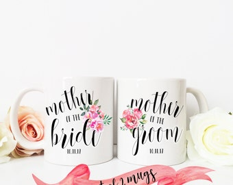 Mother of the Bride and Groom Floral Mug Set / Custom Date / Present Favor for Parent 11 oz or 15 oz Ceramic Dishwasher Safe