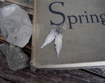 Silver Fern Earrings Dangle Leaf Earrings Gypsy Earrings Silver Dangle Earrings