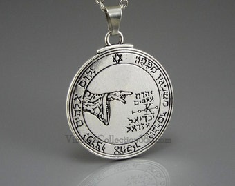 Talisman Amulet Pentacle of the Moon King Solomon with chain. Option Instructions Activation Spell