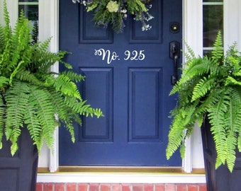 Wall Vinyl Decal your house number in decorative writing for your front door