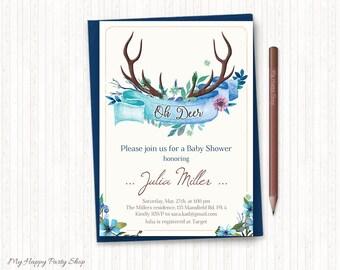 Floral Antlers Baby Shower Invitation, Blue Boy Baby Shower Invite, Rustic Invitation, Woodland, Oh Deer, PRINTABLE, Digital File - BSU039B