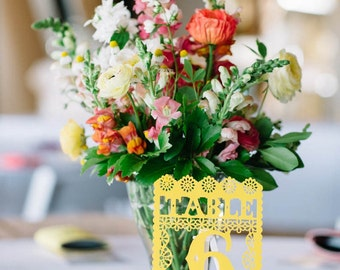 Mexican Wedding Table Numbers, Papel Picado, Fiesta Decoration, Rehearsal Dinner, Table Decor, Centrepiece, Party, Set of 6