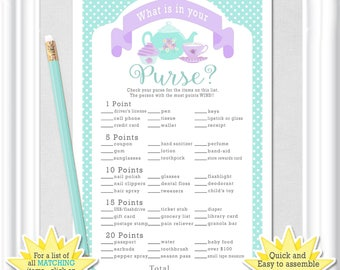 """Baby WHAT is in YOUR PURSE? game, """"Tea Party"""" Baby Shower game in teal/aqua and purple/lavender, Answers Included,  diy Printable, 73BA"""