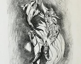 Seahorse & Koi, Best Seller, Ink, Printmaking, Trend, Home Decor, Artwork, Value