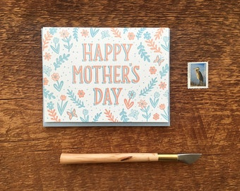 Happy Mother's Day, Flower Pattern, Floral Mother's Day Card, Folded Letterpress Card, Blank Inside
