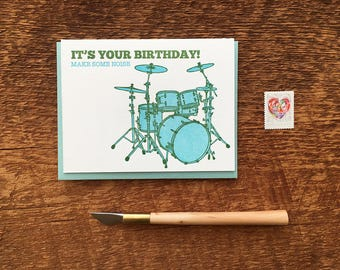 Make Some Noise Birthday Card, Kid's Birthday Card, Folded Letterpress Note Card, Blank Inside