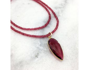 Rubellite Quartz Bezeled Arrowhead Pendant and Rondelles AAA Faceted on 24k Gold Jewelers Flex Wire Long Layering Statement Necklace
