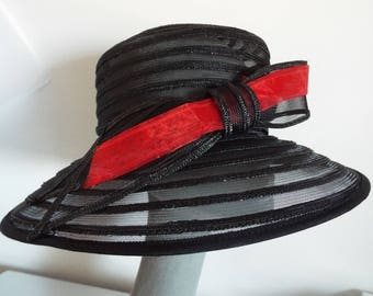 VINTAGE Ladies Hat  Black See Through Wide Brim Hat with removable  Red Highlight on Large Black Bow  by Debut