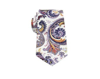 Brown,Yellow and White Paisley Tie. 100% Cotton Paisley Neckties. Mens Neckties.Gifts