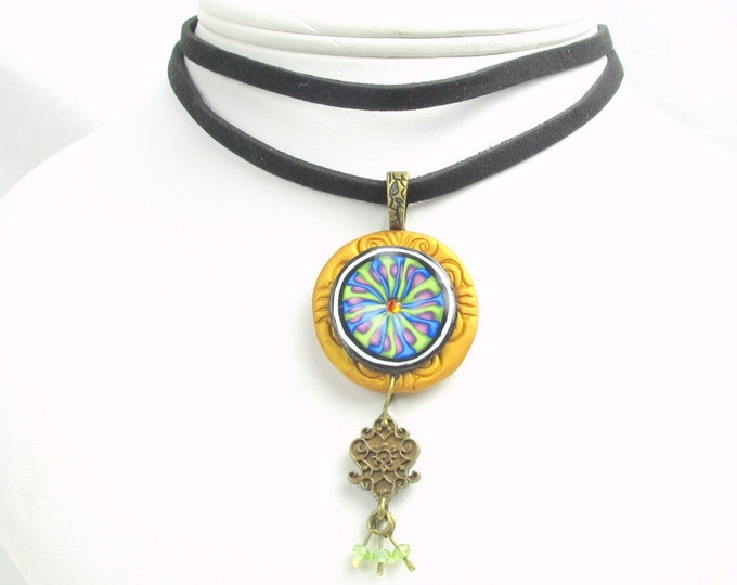 Handcrafted  Polymer Clay, Peridot & Gunmetal Pendant Sueded Leather Choker Necklace