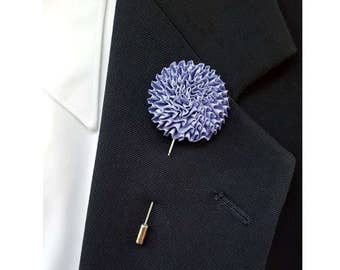 Purple Lilac Boutonniere Wedding Lapel Pin Lapel Flower Periwinkle Lilac Groom Floral Pin Groomsman Groomsmen Button Hole Wedding Flower