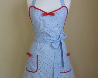 Apron/Retro Apron/Polka Dot Apron/Vintage Style Apron/1950s Style Apron/ Pale Blue Apron/ Blue and Red Apron/ Womens Apron/ Handmade Apron