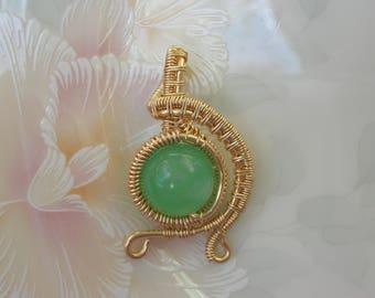 "Green Aventurine Wire Wrapped Fairy Gemstone Pendant ""Abundant Bubble"" Amulet Prosperity, Heart Healing, Vitality and Health"