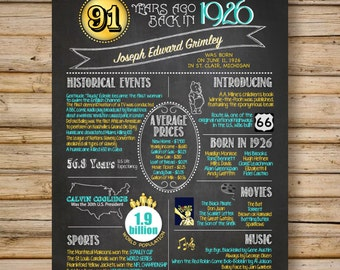1926 -- 90th Birthday or 90th Anniversary Chalkboard Poster, DIGITAL FILE, Perfect Gift, Color Customizable, 90 Years Ago Sign