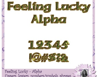Feeling Lucky Alphabet, Alpha, Text, Font, Letters, Titles, Words, Phrases, Numbers, Symbols, Punctuation, digital scrapbooking, digiscrap