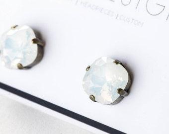 Swarovski White Opal Antique Gold Stud Earrings