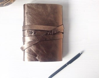 A6 metallic burnished gold leather journal, sketchbook, notebook, Leather bound, black stitching, Christmas gift for her, anniversary gift