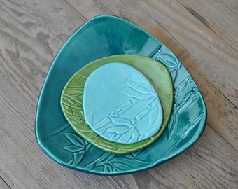Set of 3 - Bamboo printed Green Pottery Dishes, Handmade Side Platters, Serving Plates, Ceramic Tapa plates