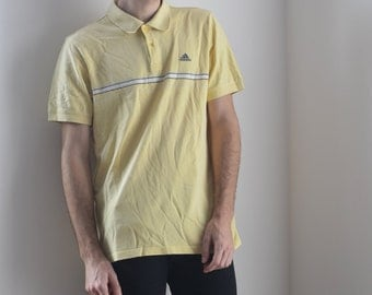 ADIDAS POLO -yellow, pastel, hip hop, vaporwave, club kid, sporty, nike, stripes, aesthetic, normcore, short sleeve, tshirt-