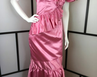 Pink Formal Dress, Ruffle Vintage Dress, Prom Dress, Costume, Theater Prop, Evening Gown, Small