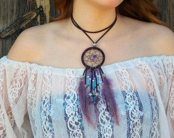 Amethyst dreamcatcher necklace choker w/ purple feathers, hippie leather choker, boho necklace, dream catcher pendant, real feather jewelry