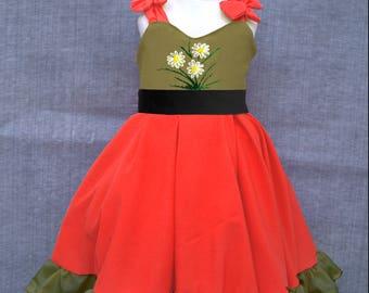 Twirly dress, Girls maxi dress, Ruffle dress, Red and khaki, Shirred girls dress,Girls circle skirt, Embroidered dress, Girls summer dress