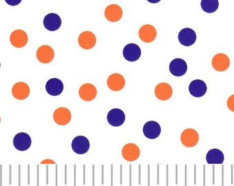 Orange and Purple polka dot fabric from Fabric Finders, purple and orange dot fabric by the yard,  fabric for sewing apparel