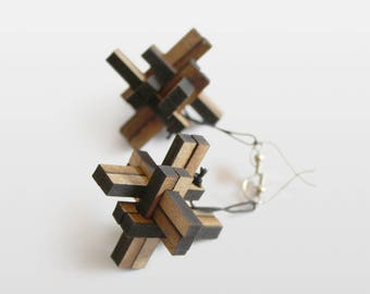 1x12 Wooden Earrings - Puzzle - Wooden Hook Earrings - Wooden Gift - Present For Ladies - Wooden Jewelry