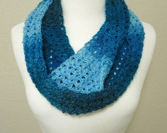 Teal Ombre Crochet Infinity Scarf