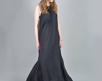 Summer Dress, Black Caftan Dress, Black Maxi Dress, Plus Size Maxi Dress, Sleeveless Dress, Kaftan Dress, Plus Size Dress, Open Back Dress