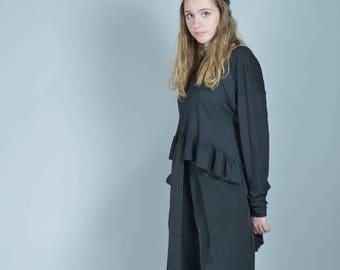 Ruffle Top, Black Blouse, Womens Top, Gothic Clothing, Plus Size Maxi Top, Cotton Blouse, Renaissance Top, Long Sleeved Blouse, Black Tunic