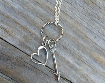 Heart and Arrow Necklace, Charm Necklace, Necklace, Minimalist Necklace, Gifts for her, Bridal Jewelry, Bridesmaid Gift, Mother of the Bride