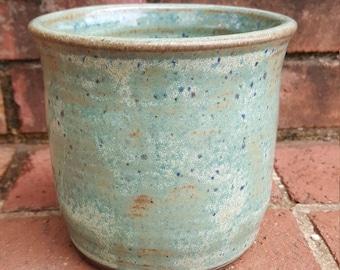 Stoneware Utensil Holder Wheel Thrown Pottery Green Glaze on Dark Brown Clay Handmade