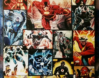 FLASH - Main DC Speedsters - Original Collage Art on Canvas with a gloss finish.
