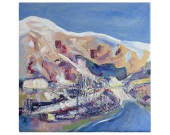 Southern Alps painting, original art, New Zealand landscape, NZ art, 16 x 16 inch square painting, semi abstract, free shipping