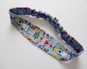 Alice in Wonderland Light Blue Floral Inspired Print Cotton Elastic Headband