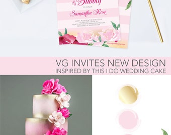 Brunch and Bubbly Bridal Shower Invite, Editable Text Acrobat Reader Template, Floral Party Invite, Pink Stripes, Wedding Shower, Faux Gold